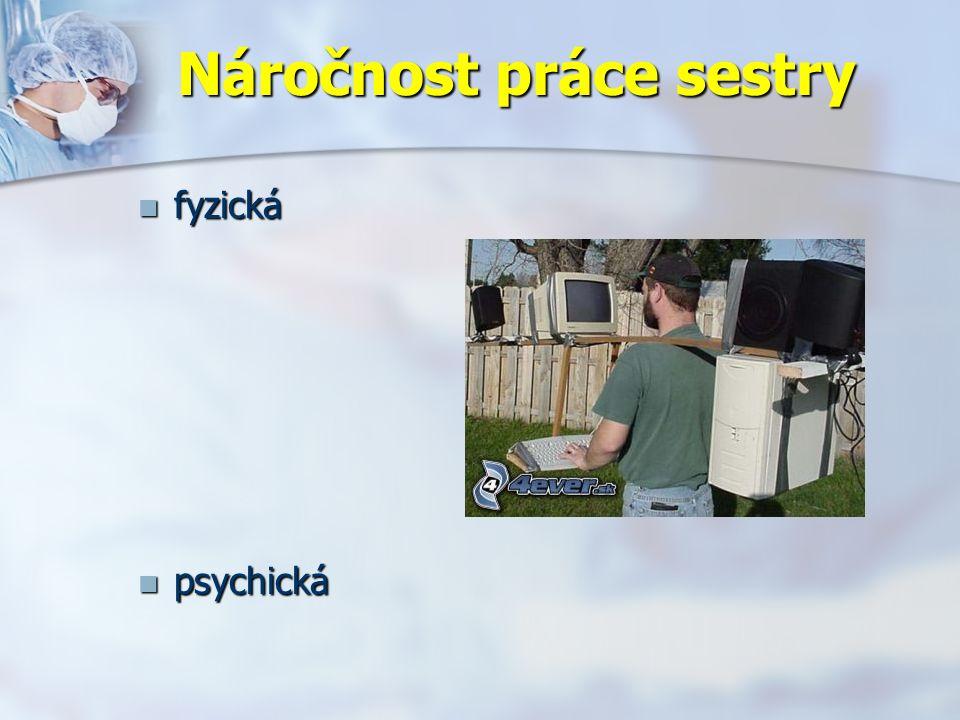 Náročnost práce sestry fyzická fyzická psychická psychická