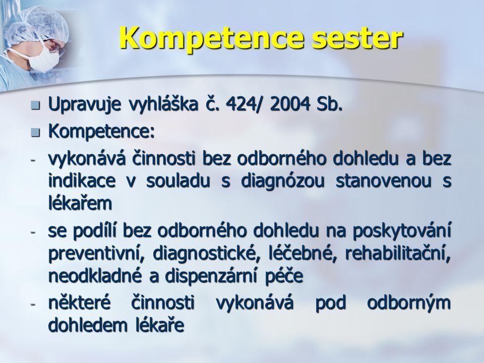 Kompetence sester Upravuje vyhláška č. 424/ 2004 Sb.