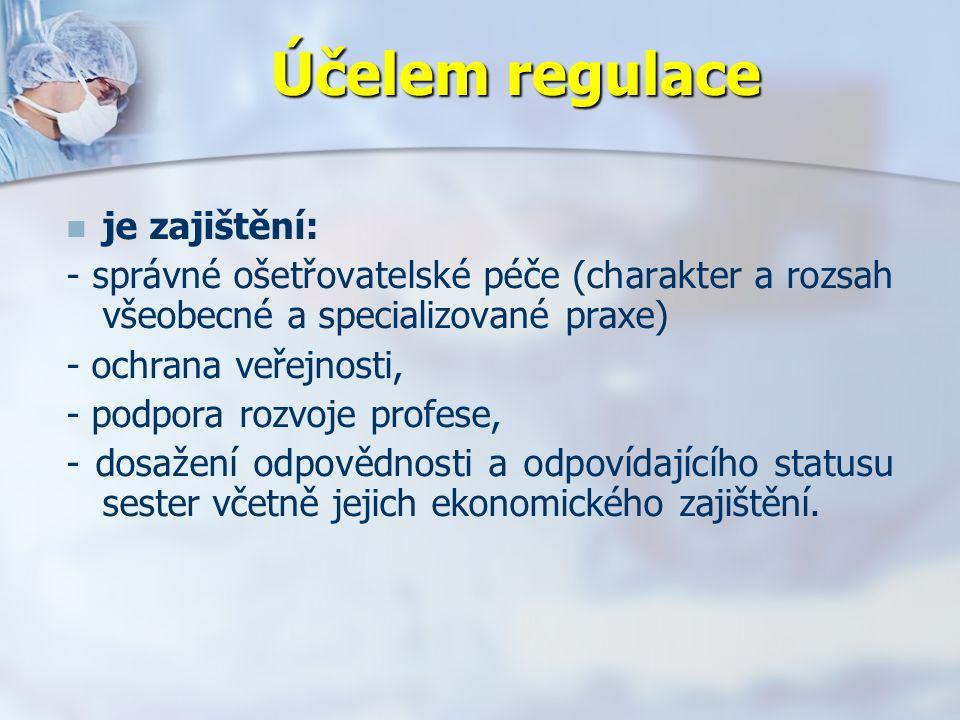 Účelem regulace je zajištění: - správné ošetřovatelské péče (charakter a rozsah všeobecné a specializované praxe) - ochrana veřejnosti, - podpora rozvoje profese, - dosažení odpovědnosti a odpovídajícího statusu sester včetně jejich ekonomického zajištění.