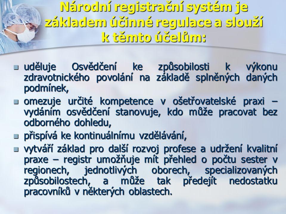 Národní registrační systém je základem účinné regulace a slouží k těmto účelům: uděluje Osvědčení ke způsobilosti k výkonu zdravotnického povolání na základě splněných daných podmínek, uděluje Osvědčení ke způsobilosti k výkonu zdravotnického povolání na základě splněných daných podmínek, omezuje určité kompetence v ošetřovatelské praxi – vydáním osvědčení stanovuje, kdo může pracovat bez odborného dohledu, omezuje určité kompetence v ošetřovatelské praxi – vydáním osvědčení stanovuje, kdo může pracovat bez odborného dohledu, přispívá ke kontinuálnímu vzdělávání, přispívá ke kontinuálnímu vzdělávání, vytváří základ pro další rozvoj profese a udržení kvalitní praxe – registr umožňuje mít přehled o počtu sester v regionech, jednotlivých oborech, specializovaných způsobilostech, a může tak předejít nedostatku pracovníků v některých oblastech.