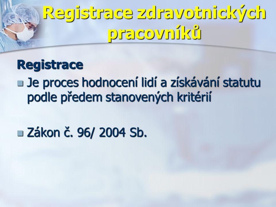 Registrace zdravotnických pracovníků Registrace Je proces hodnocení lidí a získávání statutu podle předem stanovených kritérií Je proces hodnocení lidí a získávání statutu podle předem stanovených kritérií Zákon č.