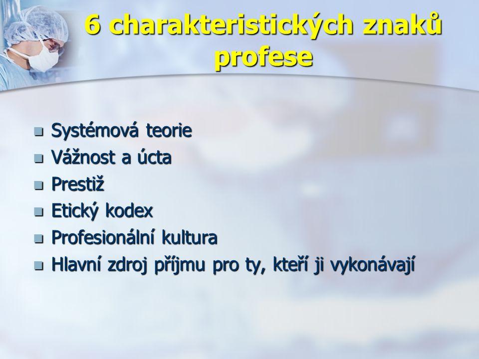 6 charakteristických znaků profese Systémová teorie Systémová teorie Vážnost a úcta Vážnost a úcta Prestiž Prestiž Etický kodex Etický kodex Profesionální kultura Profesionální kultura Hlavní zdroj příjmu pro ty, kteří ji vykonávají Hlavní zdroj příjmu pro ty, kteří ji vykonávají