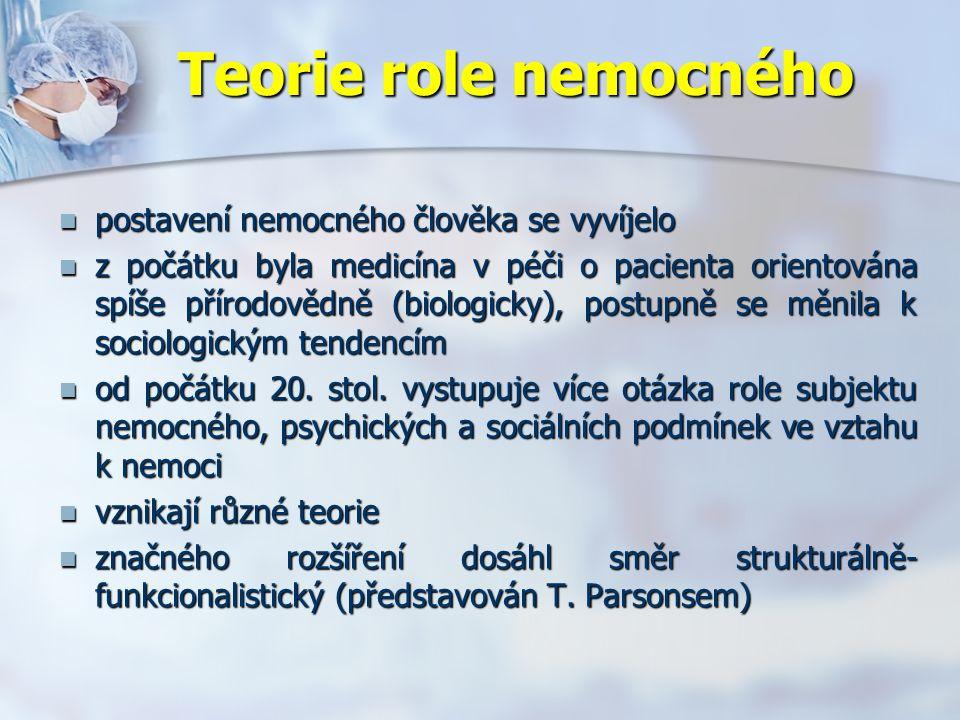 Teorie role nemocného postavení nemocného člověka se vyvíjelo postavení nemocného člověka se vyvíjelo z počátku byla medicína v péči o pacienta orientována spíše přírodovědně (biologicky), postupně se měnila k sociologickým tendencím z počátku byla medicína v péči o pacienta orientována spíše přírodovědně (biologicky), postupně se měnila k sociologickým tendencím od počátku 20.
