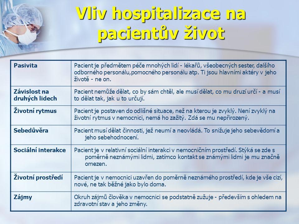 Vliv hospitalizace na pacientův život PasivitaPacient je předmětem péče mnohých lidí - lékařů, všeobecných sester, dalšího odborného personálu,pomocného personálu atp.