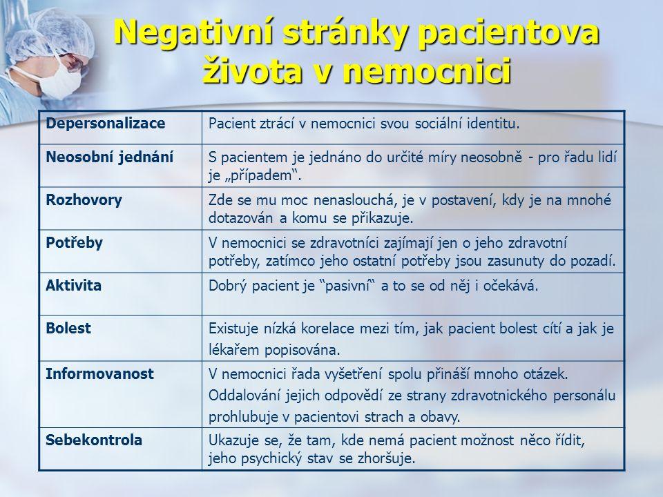 Negativní stránky pacientova života v nemocnici DepersonalizacePacient ztrácí v nemocnici svou sociální identitu.
