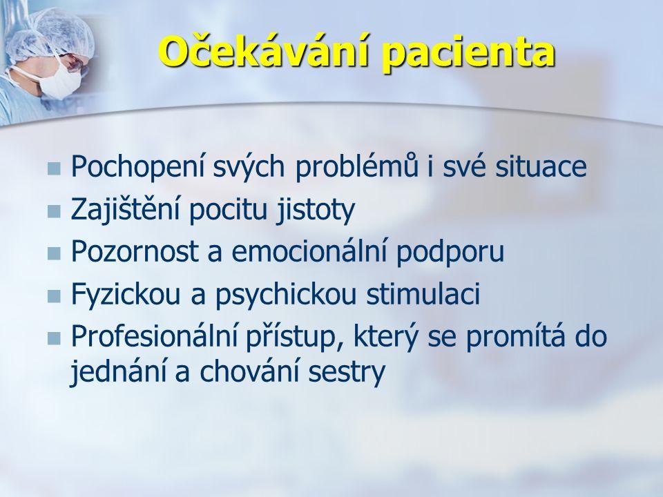 Očekávání pacienta Pochopení svých problémů i své situace Zajištění pocitu jistoty Pozornost a emocionální podporu Fyzickou a psychickou stimulaci Profesionální přístup, který se promítá do jednání a chování sestry
