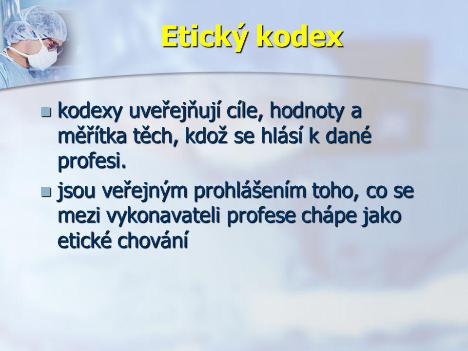 Etický kodex kodexy uveřejňují cíle, hodnoty a měřítka těch, kdož se hlásí k dané profesi.