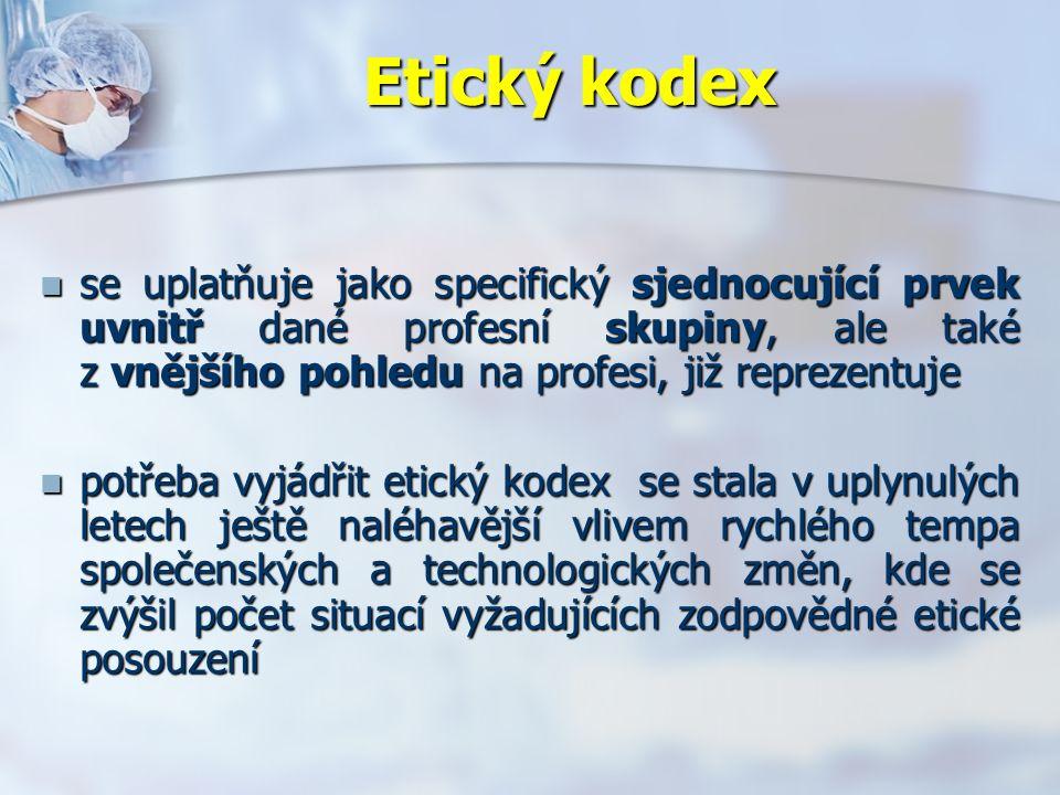 Etický kodex se uplatňuje jako specifický sjednocující prvek uvnitř dané profesní skupiny, ale také z vnějšího pohledu na profesi, již reprezentuje se uplatňuje jako specifický sjednocující prvek uvnitř dané profesní skupiny, ale také z vnějšího pohledu na profesi, již reprezentuje potřeba vyjádřit etický kodex se stala v uplynulých letech ještě naléhavější vlivem rychlého tempa společenských a technologických změn, kde se zvýšil počet situací vyžadujících zodpovědné etické posouzení potřeba vyjádřit etický kodex se stala v uplynulých letech ještě naléhavější vlivem rychlého tempa společenských a technologických změn, kde se zvýšil počet situací vyžadujících zodpovědné etické posouzení