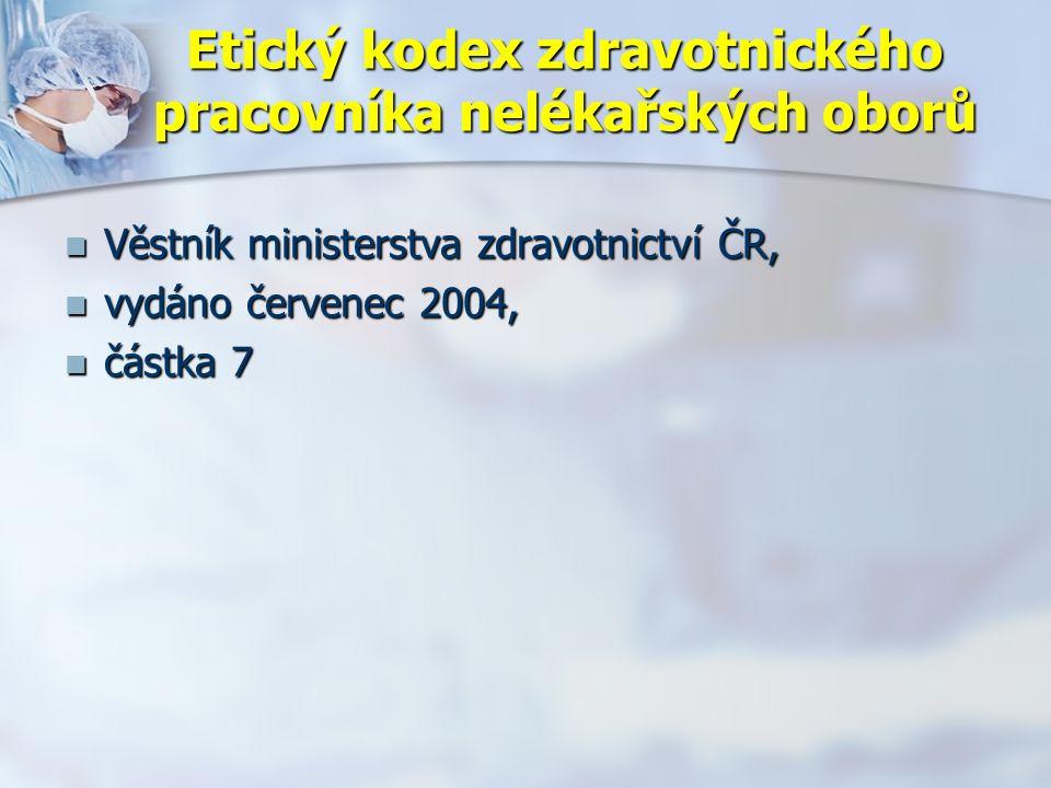Etický kodex zdravotnického pracovníka nelékařských oborů Věstník ministerstva zdravotnictví ČR, Věstník ministerstva zdravotnictví ČR, vydáno červenec 2004, vydáno červenec 2004, částka 7 částka 7