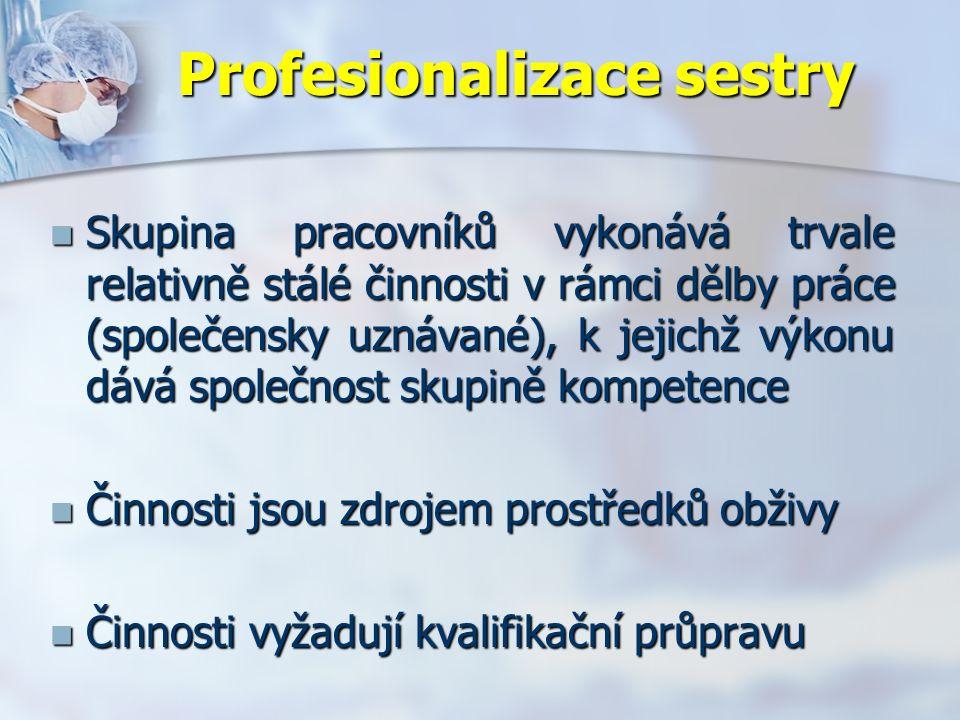 Profesionalizace sestry Skupina pracovníků vykonává trvale relativně stálé činnosti v rámci dělby práce (společensky uznávané), k jejichž výkonu dává společnost skupině kompetence Skupina pracovníků vykonává trvale relativně stálé činnosti v rámci dělby práce (společensky uznávané), k jejichž výkonu dává společnost skupině kompetence Činnosti jsou zdrojem prostředků obživy Činnosti jsou zdrojem prostředků obživy Činnosti vyžadují kvalifikační průpravu Činnosti vyžadují kvalifikační průpravu
