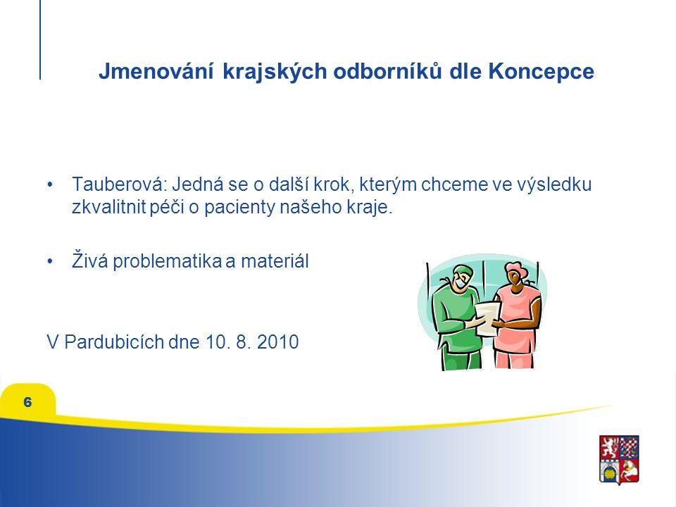 Jmenování krajských odborníků dle Koncepce Tauberová: Jedná se o další krok, kterým chceme ve výsledku zkvalitnit péči o pacienty našeho kraje. Živá p