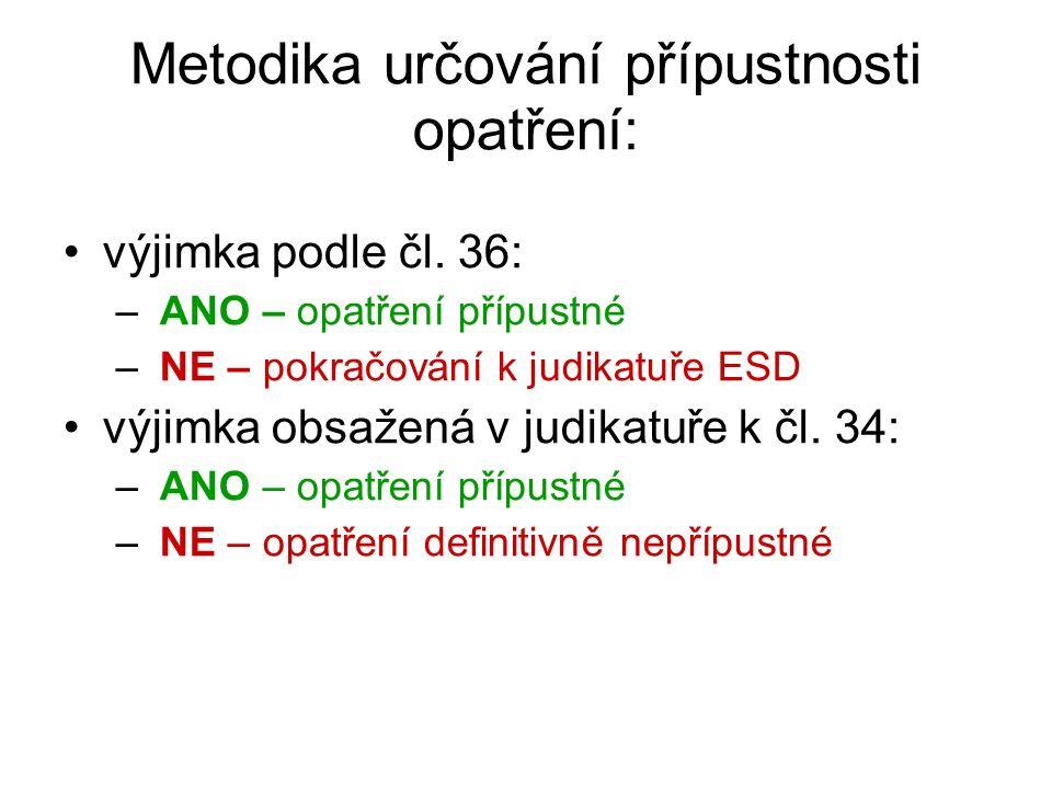 Metodika určování přípustnosti opatření: výjimka podle čl. 36: – ANO – opatření přípustné – NE – pokračování k judikatuře ESD výjimka obsažená v judik