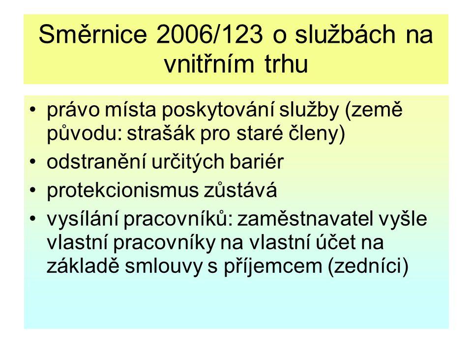 Směrnice 2006/123 o službách na vnitřním trhu právo místa poskytování služby (země původu: strašák pro staré členy) odstranění určitých bariér protekc