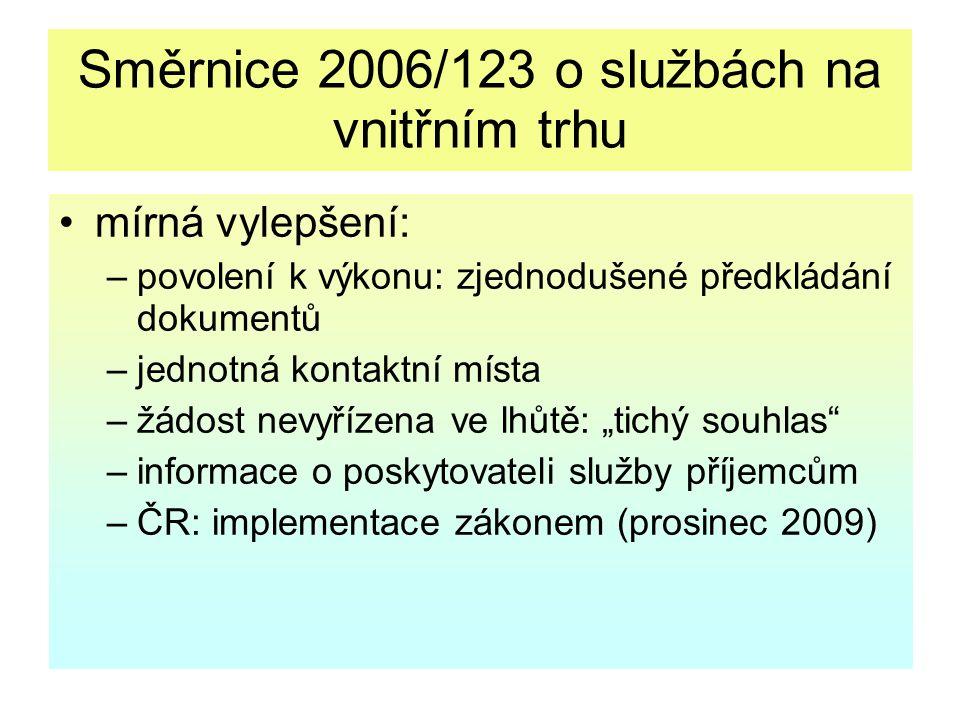 Směrnice 2006/123 o službách na vnitřním trhu mírná vylepšení: –povolení k výkonu: zjednodušené předkládání dokumentů –jednotná kontaktní místa –žádos