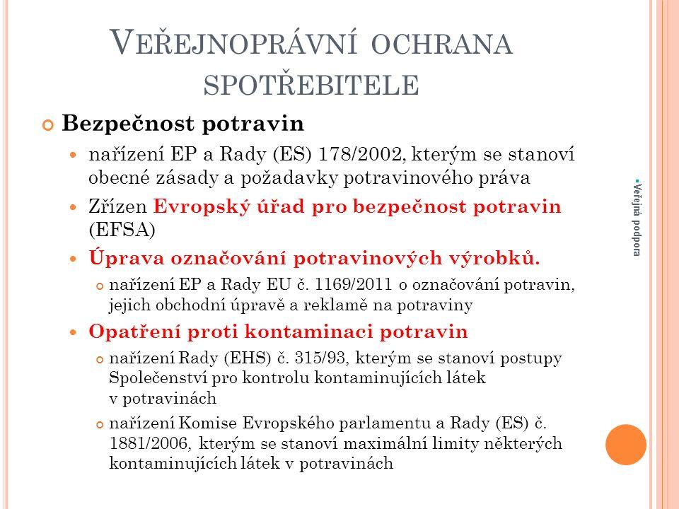 V EŘEJNOPRÁVNÍ OCHRANA SPOTŘEBITELE Bezpečnost potravin nařízení EP a Rady (ES) 178/2002, kterým se stanoví obecné zásady a požadavky potravinového pr
