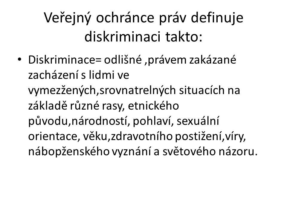 Nález ústavního soudu ČR ze dne 30.4.2009 zn.II.ÚS 1609/08 definuje diskriminaci takto: Původní význam latinského slovesa discriminare je rozlišovat.