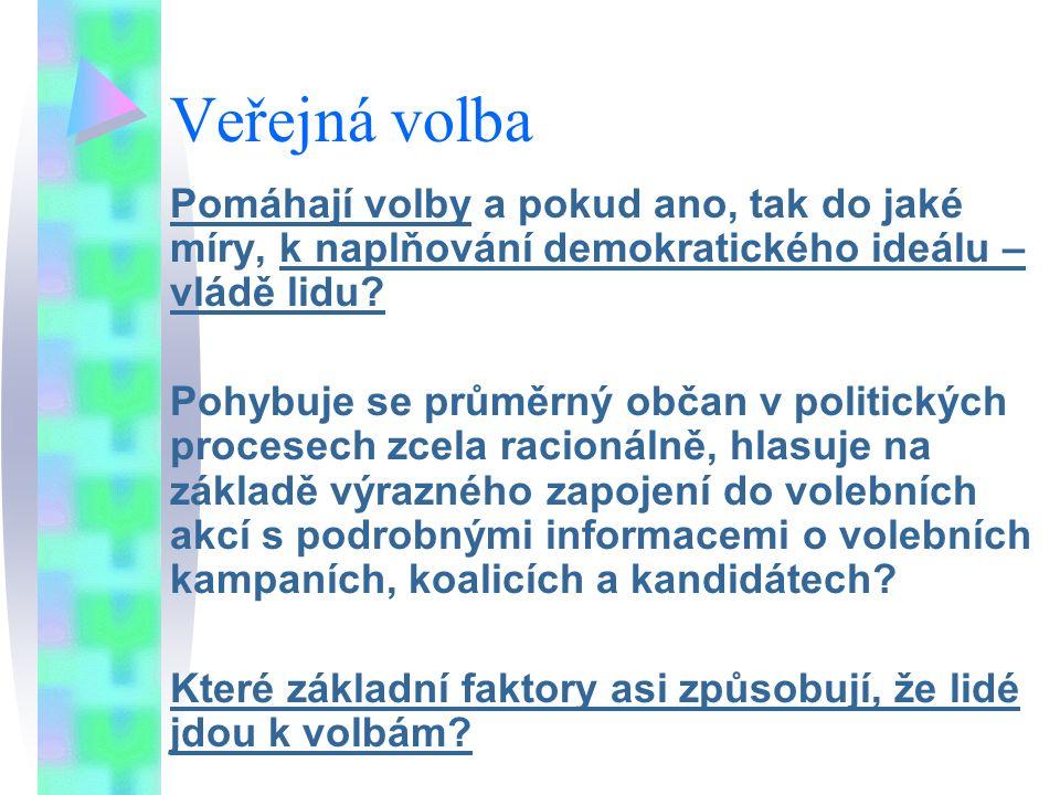 Veřejná volba Pomáhají volby a pokud ano, tak do jaké míry, k naplňování demokratického ideálu – vládě lidu? Pohybuje se průměrný občan v politických