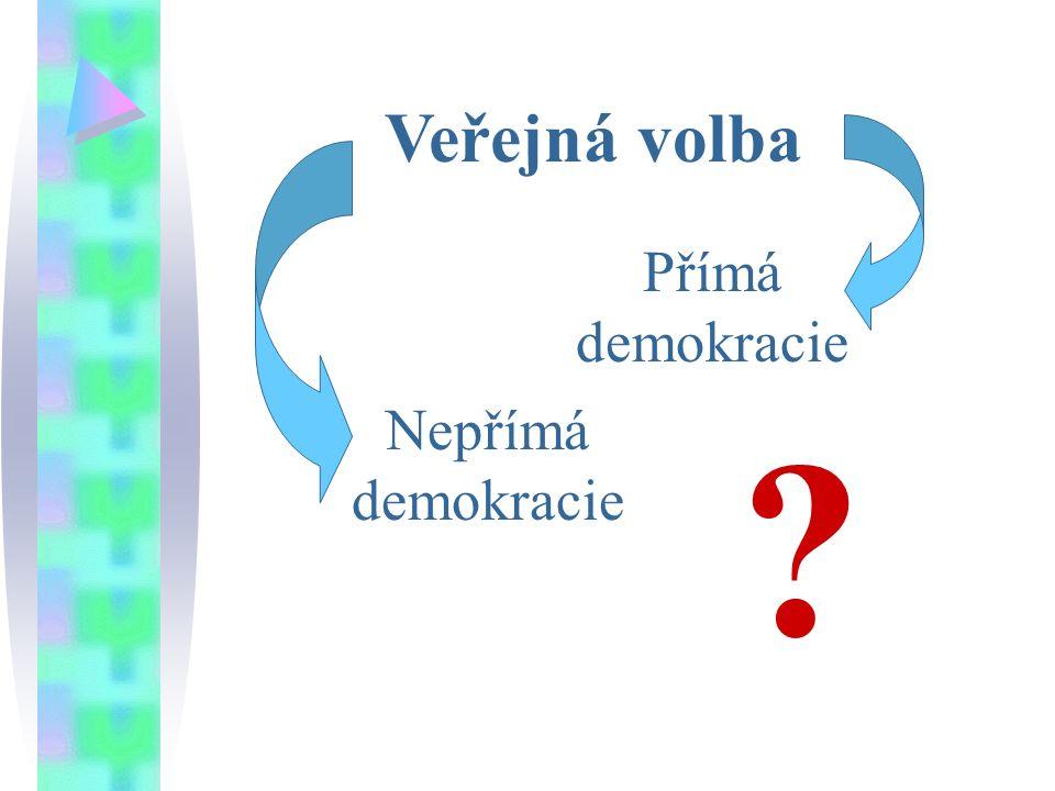 Veřejná volba Přímá demokracie Nepřímá demokracie ?