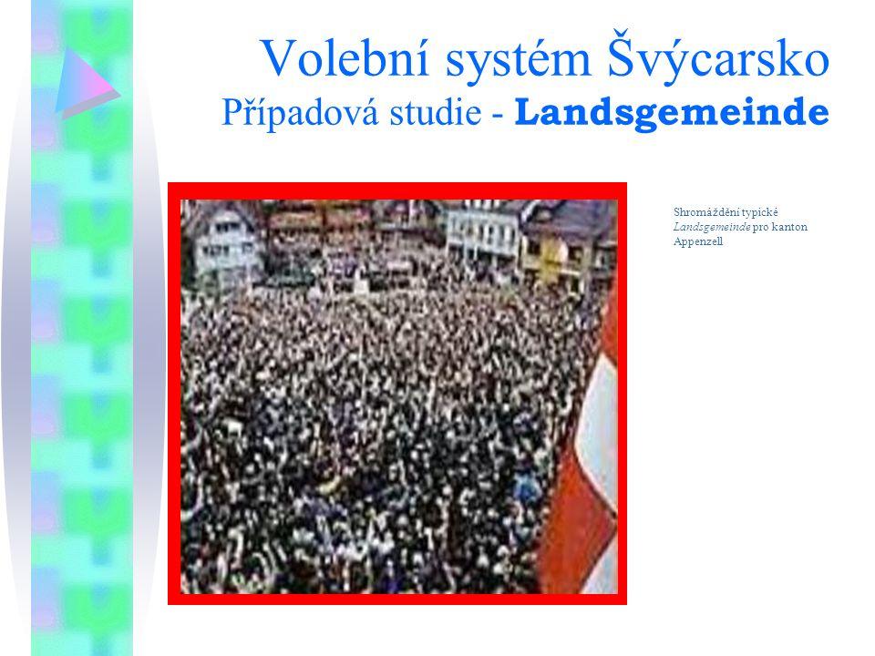 Volební systém Švýcarsko Případová studie - Landsgemeinde Shromáždění typické Landsgemeinde pro kanton Appenzell