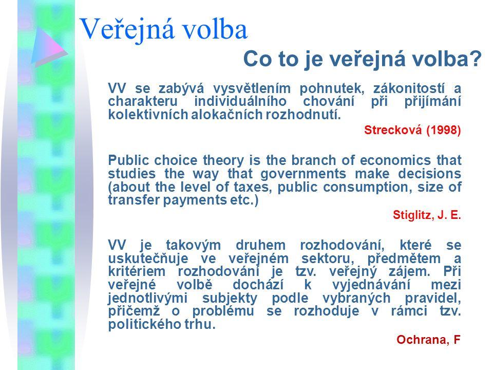 Veřejná volba Co to je veřejná volba? VV se zabývá vysvětlením pohnutek, zákonitostí a charakteru individuálního chování při přijímání kolektivních al