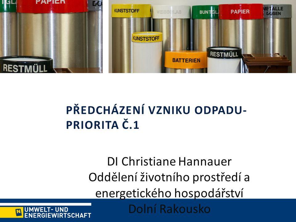 PŘEDCHÁZENÍ VZNIKU ODPADU- PRIORITA Č.1 DI Christiane Hannauer Oddělení životního prostředí a energetického hospodářství Dolní Rakousko