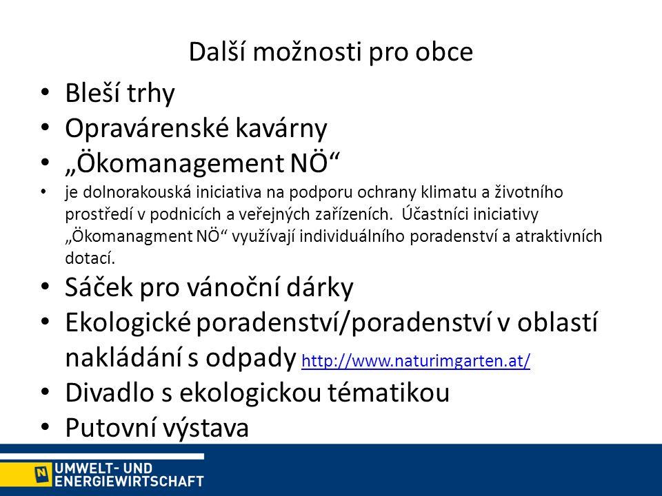 """Další možnosti pro obce Bleší trhy Opravárenské kavárny """"Ökomanagement NÖ je dolnorakouská iniciativa na podporu ochrany klimatu a životního prostředí v podnicích a veřejných zařízeních."""