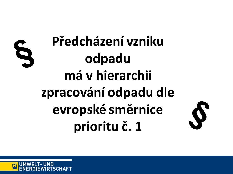 Předcházení vzniku odpadu má v hierarchii zpracování odpadu dle evropské směrnice prioritu č. 1 § §