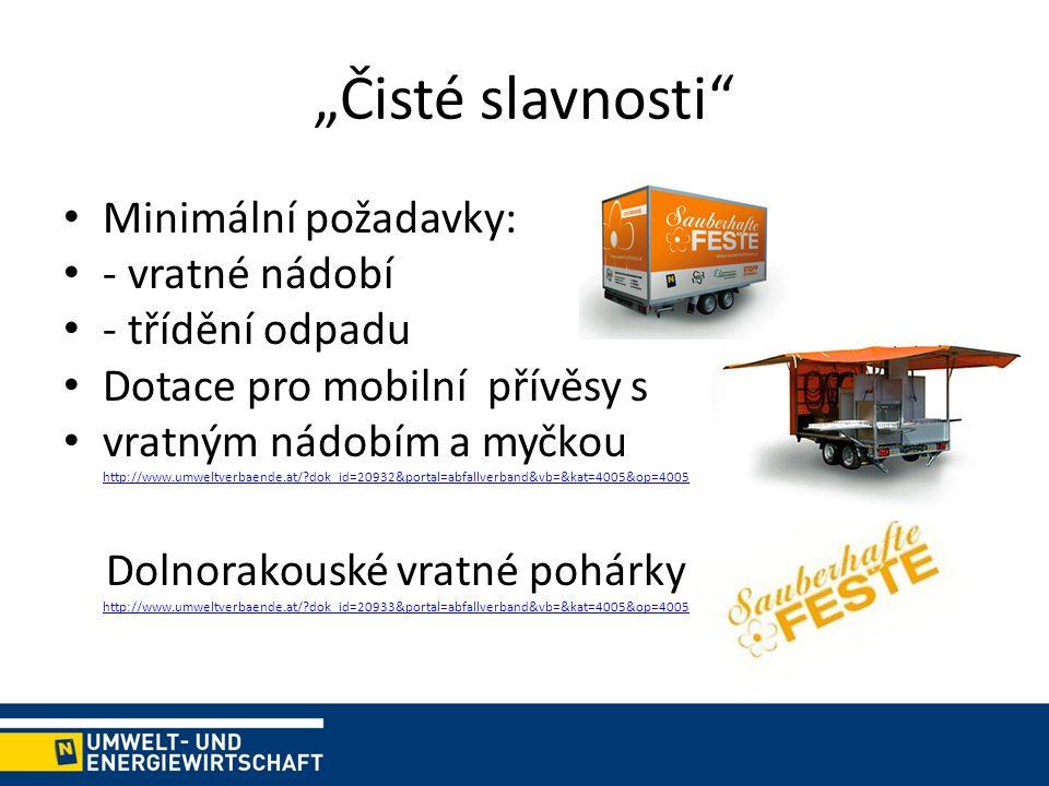 """""""Čisté slavnosti Minimální požadavky: - vratné nádobí - třídění odpadu Dotace pro mobilní přívěsy s vratným nádobím a myčkou http://www.umweltverbaende.at/ dok_id=20932&portal=abfallverband&vb=&kat=4005&op=4005 http://www.umweltverbaende.at/ dok_id=20932&portal=abfallverband&vb=&kat=4005&op=4005 Dolnorakouské vratné pohárky http://www.umweltverbaende.at/ dok_id=20933&portal=abfallverband&vb=&kat=4005&op=4005 http://www.umweltverbaende.at/ dok_id=20933&portal=abfallverband&vb=&kat=4005&op=4005"""