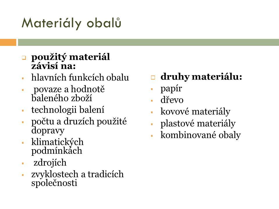 Materiály obalů  materiál vyrobený na bázi přírodních zdrojů  z obnovitelných zdrojů  recyklovatelný  přírodou akceptovatelný  podoby:  hedvábný papír, vlnitý papír, voštinový papír, upravovaný papír, papírová drť /hobliny  příklady:  sáčky, pytle, tašky, tácky  skládatelné lepenkové obaly (skládačky)  vinutá kartonáž (papírové trubky)  tzv.