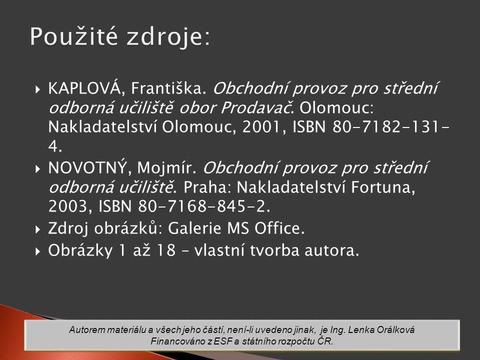  KAPLOVÁ, Františka.Obchodní provoz pro střední odborná učiliště obor Prodavač.