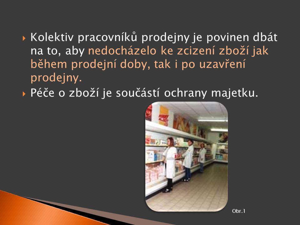  Kolektiv pracovníků prodejny je povinen dbát na to, aby nedocházelo ke zcizení zboží jak během prodejní doby, tak i po uzavření prodejny.