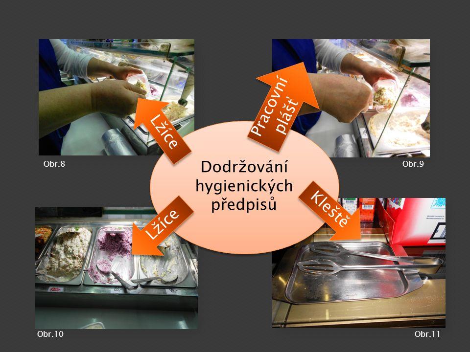 Dodržování hygienických předpisů Lžíce Pracovní plášť Kleště Lžíce Obr.8Obr.9 Obr.10Obr.11