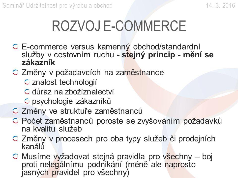 ROZVOJ E-COMMERCE E-commerce versus kamenný obchod/standardní služby v cestovním ruchu - stejný princip - mění se zákazník Změny v požadavcích na zaměstnance znalost technologií důraz na zbožíznalectví psychologie zákazníků Změny ve struktuře zaměstnanců Počet zaměstnanců poroste se zvyšováním požadavků na kvalitu služeb Změny v procesech pro oba typy služeb či prodejních kanálů Musíme vyžadovat stejná pravidla pro všechny – boj proti nelegálnímu podnikání (méně ale naprosto jasných pravidel pro všechny) Seminář Udržitelnost pro výrobu a obchod 14.