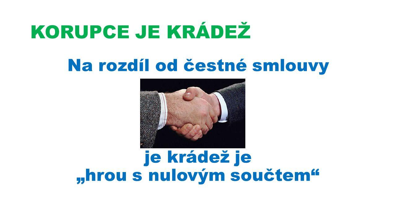 """KORUPCE JE KRÁDEŽ Na rozdíl od čestné smlouvy je krádež je """"hrou s nulovým součtem"""