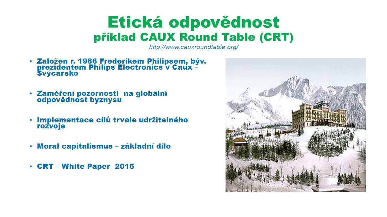 Etická odpovědnost příklad CAUX Round Table (CRT) http://www.cauxroundtable.org/ Založen r.