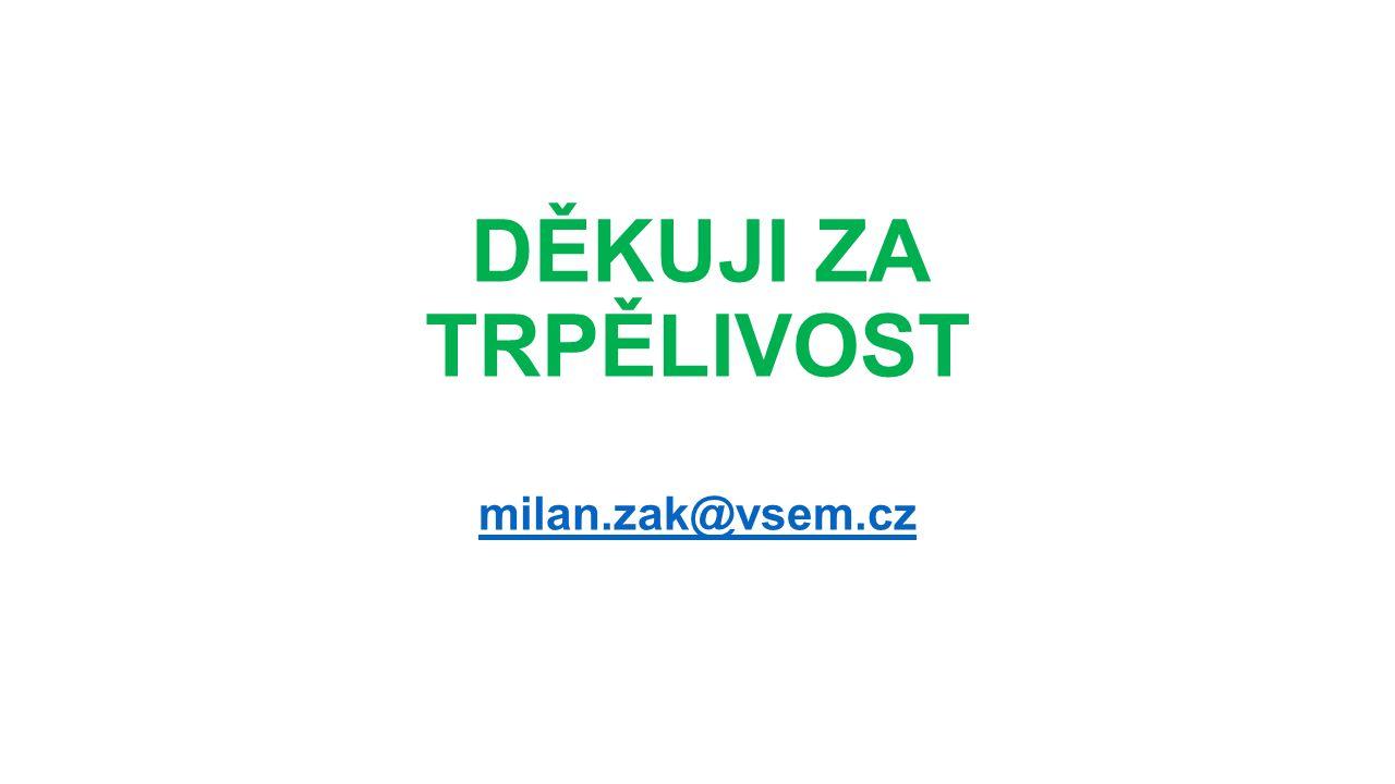 DĚKUJI ZA TRPĚLIVOST milan.zak@vsem.cz milan.zak@vsem.cz