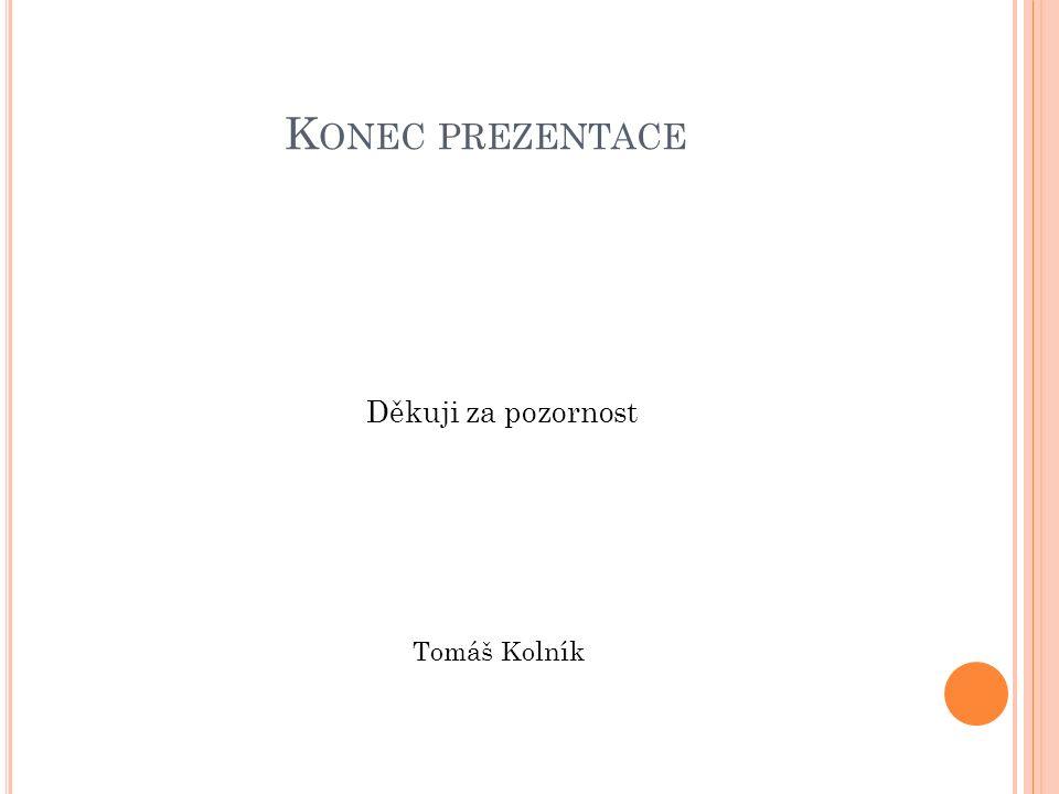 K ONEC PREZENTACE Děkuji za pozornost Tomáš Kolník