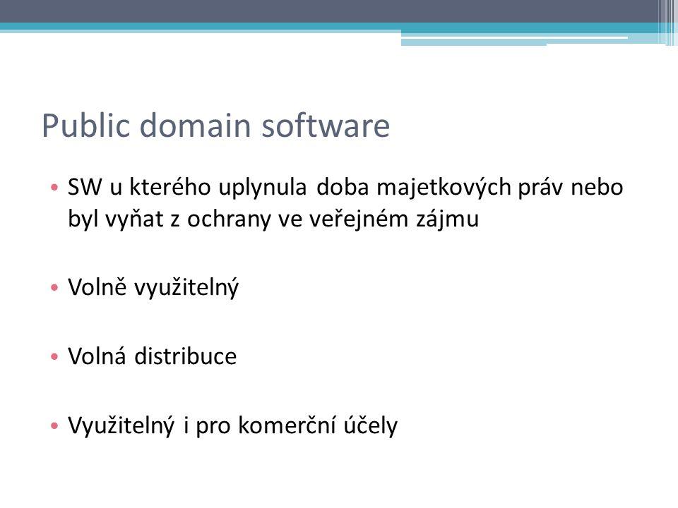 Public domain software SW u kterého uplynula doba majetkových práv nebo byl vyňat z ochrany ve veřejném zájmu Volně využitelný Volná distribuce Využitelný i pro komerční účely