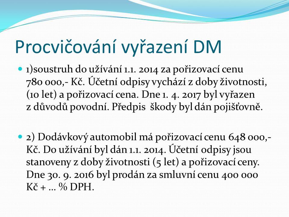 Procvičování vyřazení DM 1)soustruh do užívání 1.1.
