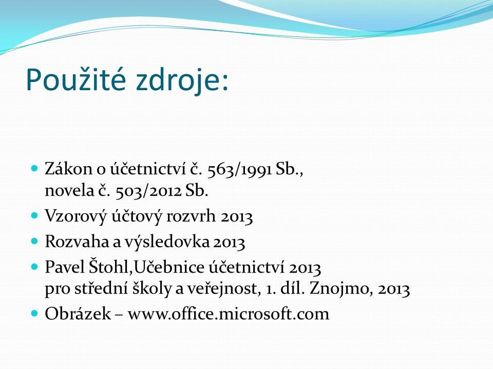 Použité zdroje: Zákon o účetnictví č. 563/1991 Sb., novela č.