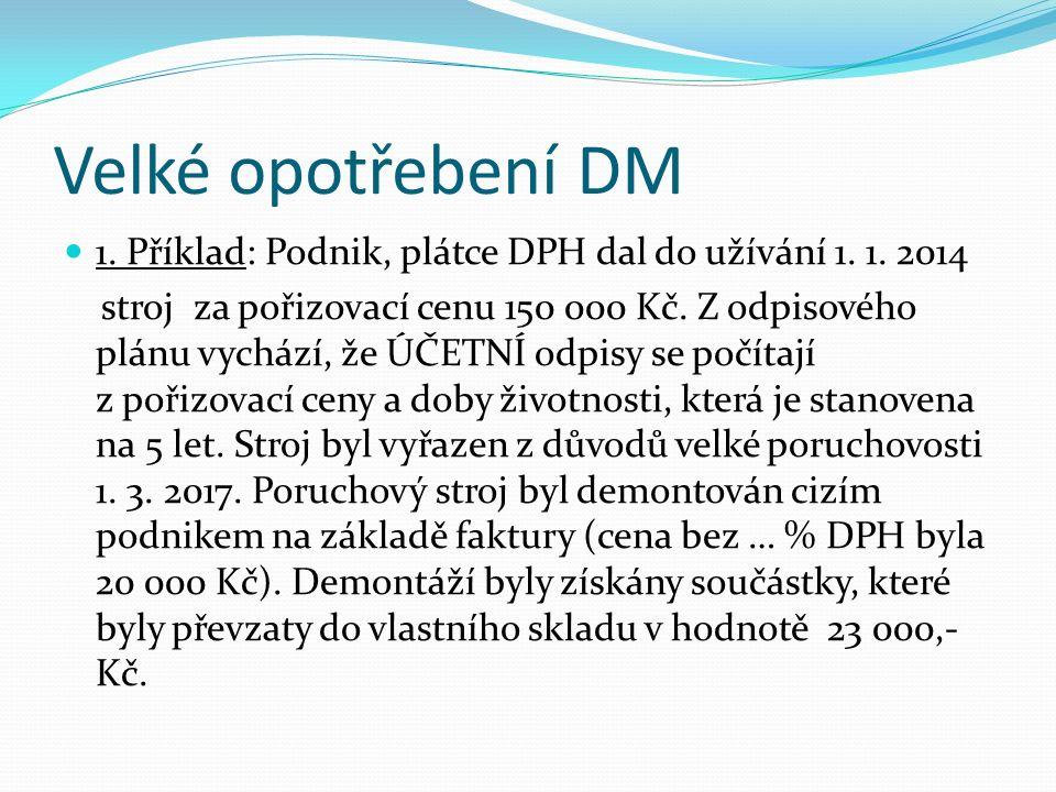 Velké opotřebení DM 1. Příklad: Podnik, plátce DPH dal do užívání 1.