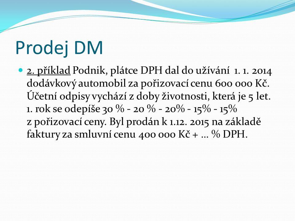 Prodej DM 2. příklad Podnik, plátce DPH dal do užívání 1.