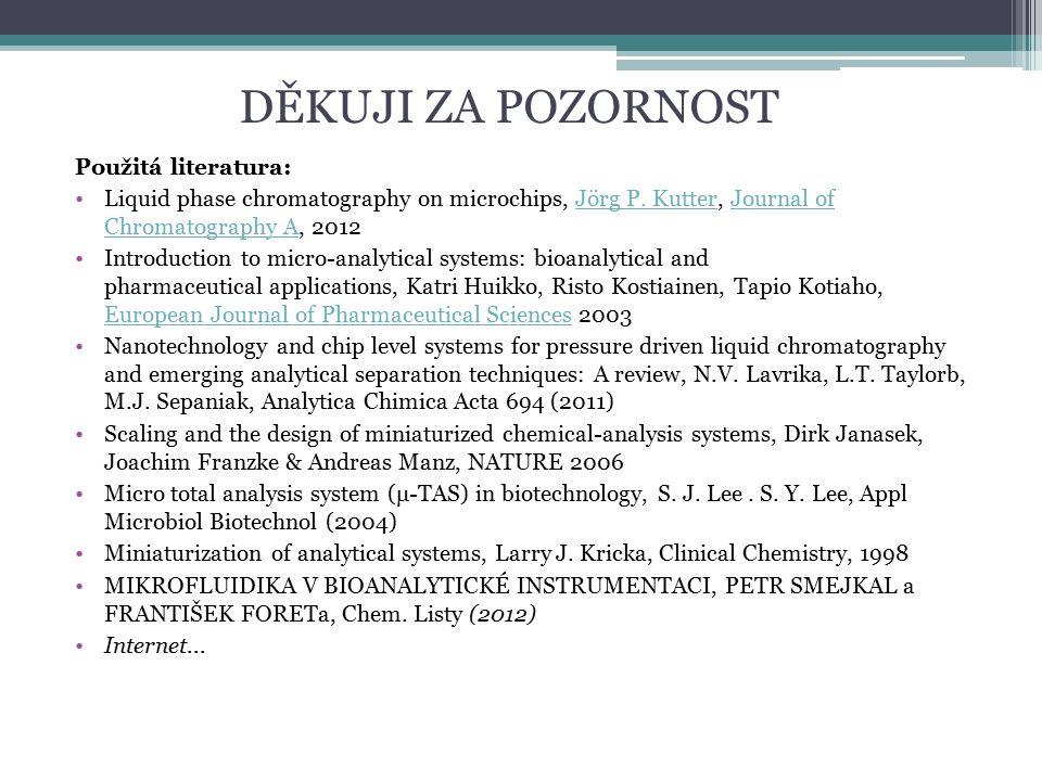DĚKUJI ZA POZORNOST Použitá literatura: Liquid phase chromatography on microchips, Jörg P.