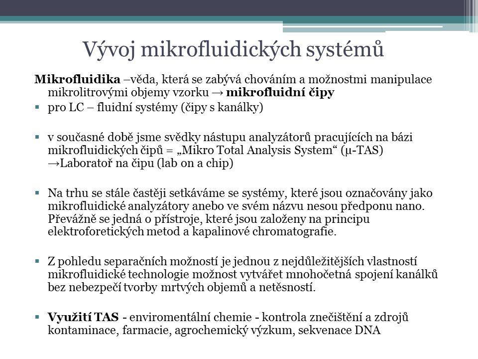 """Vývoj mikrofluidických systémů Mikrofluidika –věda, která se zabývá chováním a možnostmi manipulace mikrolitrovými objemy vzorku → mikrofluidní čipy  pro LC – fluidní systémy (čipy s kanálky)  v současné době jsme svědky nástupu analyzátorů pracujících na bázi mikrofluidických čipů = """"Mikro Total Analysis System (µ-TAS) → Laboratoř na čipu (lab on a chip)  Na trhu se stále častěji setkáváme se systémy, které jsou označovány jako mikrofluidické analyzátory anebo ve svém názvu nesou předponu nano."""