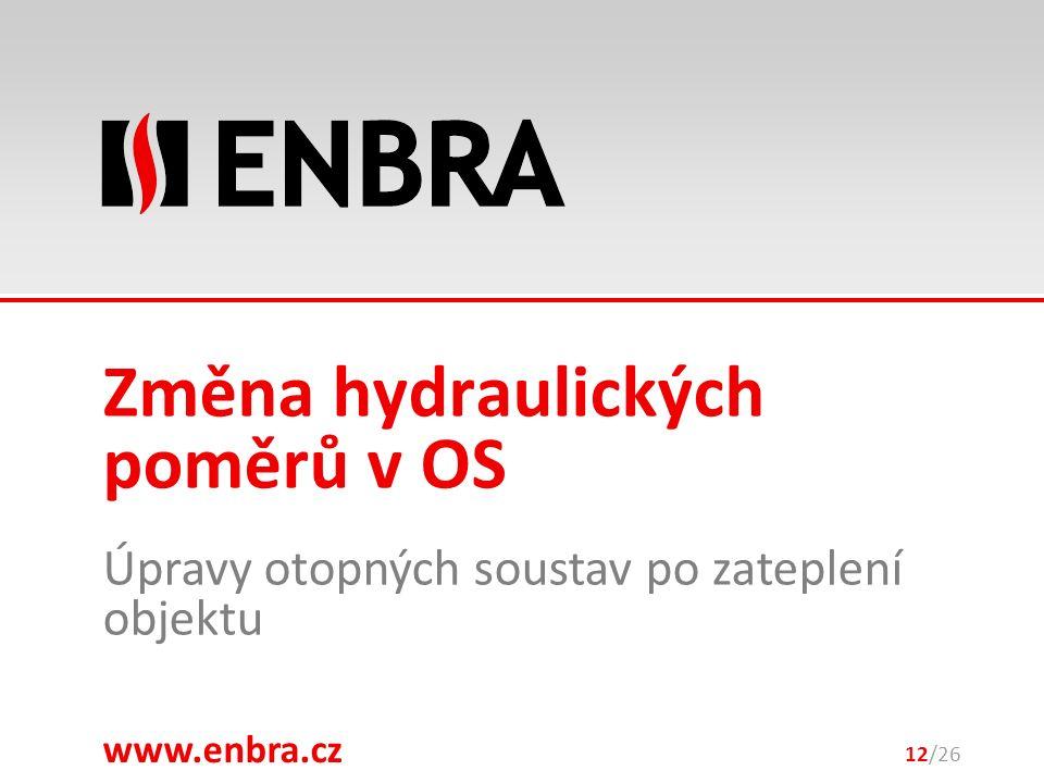 www.enbra.cz 28.9.2016 Úpravy otopných soustav po zateplení objektu 12/26 Změna hydraulických poměrů v OS