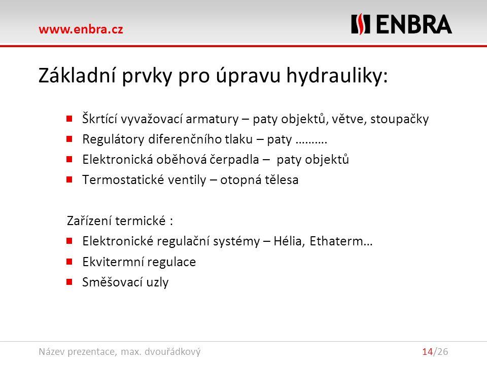 www.enbra.cz 28.9.2016Název prezentace, max. dvouřádkový14/26 Základní prvky pro úpravu hydrauliky: Škrtící vyvažovací armatury – paty objektů, větve,