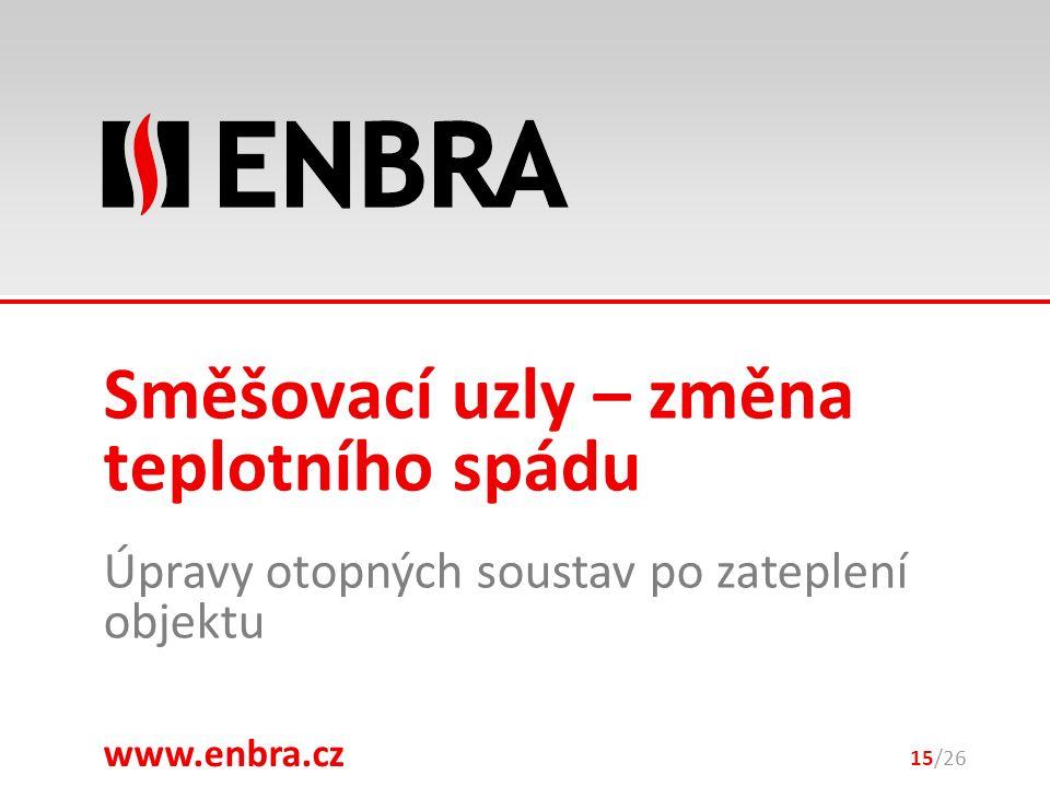 www.enbra.cz 28.9.2016 Úpravy otopných soustav po zateplení objektu 15/26 Směšovací uzly – změna teplotního spádu