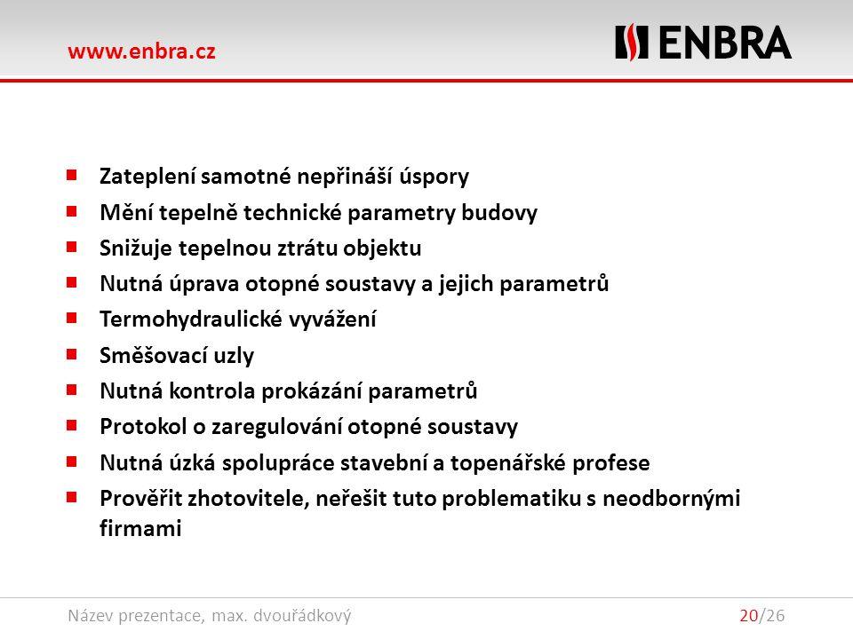 www.enbra.cz 28.9.2016Název prezentace, max. dvouřádkový20/26 Zateplení samotné nepřináší úspory Mění tepelně technické parametry budovy Snižuje tepel