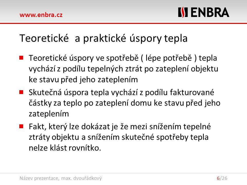 www.enbra.cz 28.9.2016Název prezentace, max. dvouřádkový6/26 Teoretické a praktické úspory tepla Teoretické úspory ve spotřebě ( lépe potřebě ) tepla