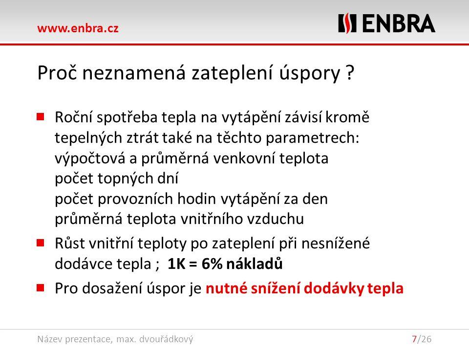www.enbra.cz 28.9.2016Název prezentace, max. dvouřádkový7/26 Proč neznamená zateplení úspory ? Roční spotřeba tepla na vytápění závisí kromě tepelných